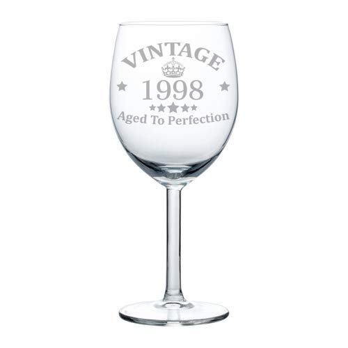 - Wine Glass Goblet 21st Birthday Vintage Aged To Perfection 1998 (10 oz)