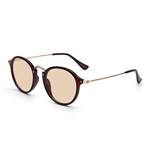 Retro Round Computer Reading Glasses Blue Light Blocking Video Game Eyeglasses, Reduce Eye Strain Anti Glare Clear Lens Men Women (Brownish Red/Brown) ()