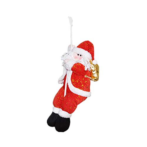 Fine Santa Claus Climbing on Rope Ladder for Christmas Tree Indoor Outdoor Hanging Ornament Decor Christmas Xmas Party Home Door Wall Decoration (B) (Golden Tree Handmade)