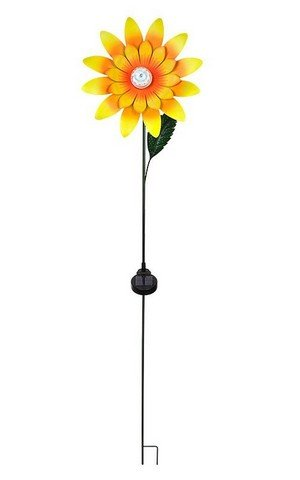 Hi-Line Gift 78510-L Rotating Sunflower Stake with Solar LED, 11 x 6 x 55.19 in.