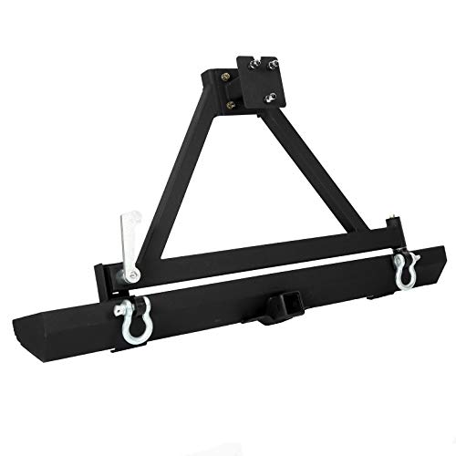 Rock Crawler Rear Bumper w//Tire Carrier Swing/& 2 Receiver Hitches W//D-Rings for 1987-1996 Jeep Wrangler YJ/& 1997-2006 TJ