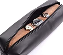 Cosmos Black Color PU Leather Watch and Bracelet Travel Storage Roll Bag with Brown Removable Tube Velvet Holder