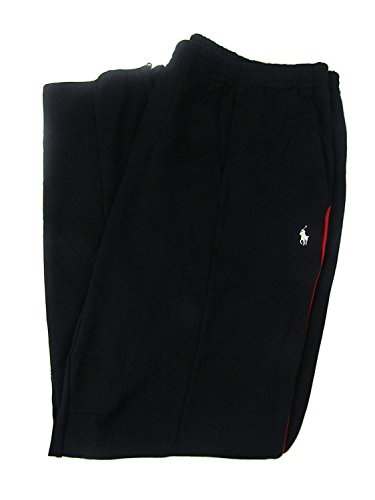 Polo Ralph Lauren Men's Double-Knit Track Pants (XL, Black/Red) by Polo Ralph Lauren