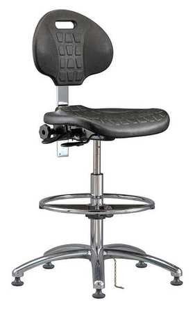 Bevco 7551E Class 10 Certified Cleanroom Ergonomic ESD Chair, Tilt Back Adjustment, 18'' Dia. Adjustable Chrome Footring, Polished Aluminum Base, 20-1/2''to 30-1/2'' Height Adjustment