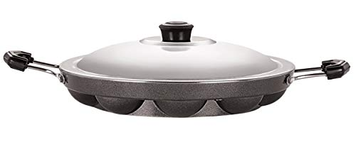 Nirlon Non Stick Heavy Duty 12 Cavity Appam Pan Appa Patra Paniyarakkal Paniyaram with Side Handles with Steel lid