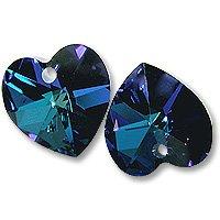 Bermuda Blue Package - Swarovski Heart Pendant 6228 18mm Crystal Bermuda Blue (Package of 1)