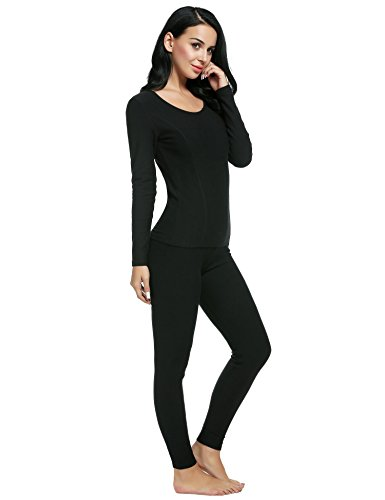 Ekouaer Women's Thermal Long Johns Underwear Base Layer Set Top&Bottom(Black,Small) by Ekouaer (Image #3)