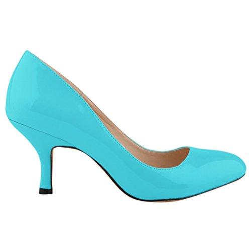 Tacco Scarpe Punta Kitten Classiche Wanyang Shoes Blu Heel Col Donna A 1Sxtwt