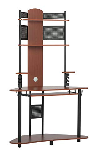 Calico Designs Arch Tower Corner Computer Tower Multipurpose Home Office Computer Writing Desk - Cherry / Black, 50520 Corner Computer Desk Tower