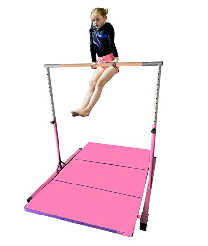 X-Factor 5 Ft Horizontal Bar Athletic Teens Adjustable Gymnastics 280 LB Capacity Children Junior Training Kip Bars Pink with 4' Ft x 8' Ft Gymnastic Mat Set (Adults For Gymnastics Bars)