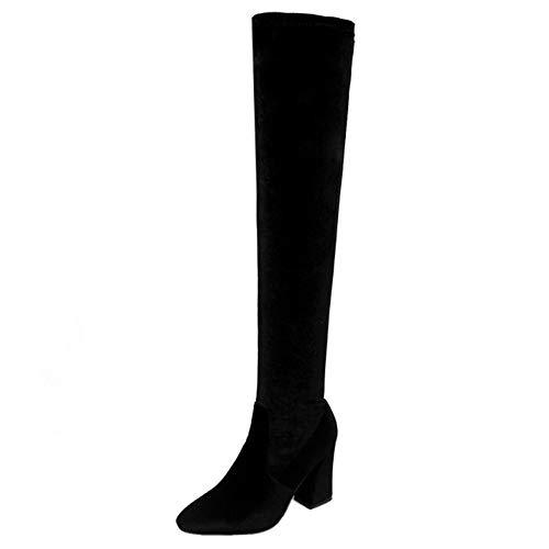 warm Taoffen Noir Cavalieres Femmes Bottes xqqB7Hz
