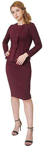 Marycrafts Women's Formal Office Business Shirt Jacket Skirt Suit 10 Burgundy (For Church Suits Ladies White)