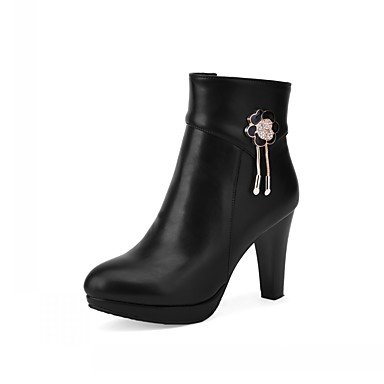 Women's Shoes PU Leatherette Fall Winter Comfort Novelty Fashion Boots Boots Chunky Heel Round Toe Booties/Ankle Boots Rhinestone For beige