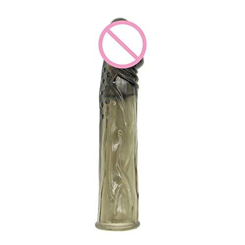 Male Ring Bullet Sleeve Reusable Erectile Sleeve Ring Toys for Men,Black