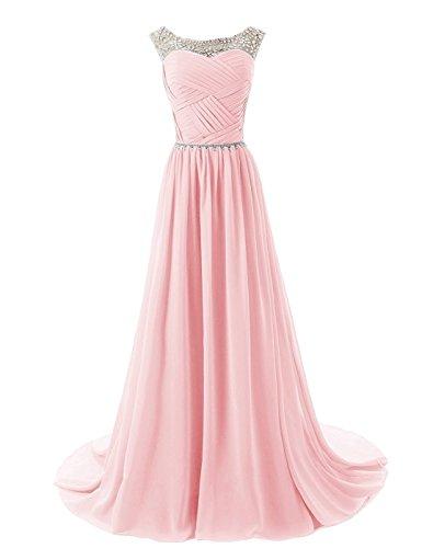Cocktail Brautjungfernkleider besetzte Damen Pink Bainjinbai Chiffon Ballkleider Abendkleider Pailetten w7YHaqX