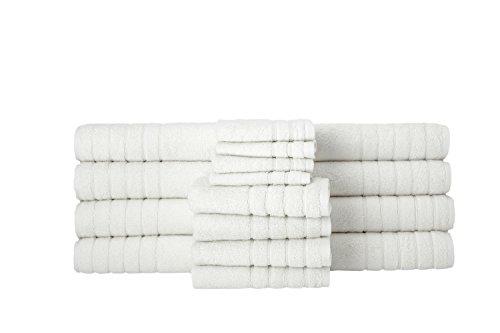 Barnum Collection 16 Piece Turkish Cotton Bath Towel Set, Wh