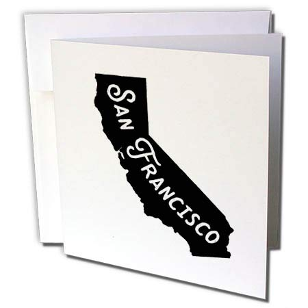 3dRose Becky Nimoy Stationery – Travel - San Francisco Vintage Letters Inside Silhouette of California - 6 Greeting Cards with envelopes (gc_291932_1)