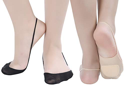 Women's 6 Pairs Ultra Low Cut No Show Padded Half Liner Socks with Sling Back (4beige2black)