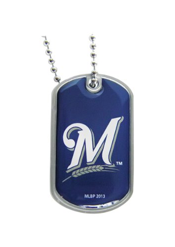 aminco Milwaukee Brewers Dog Tag Necklace Charm Chain