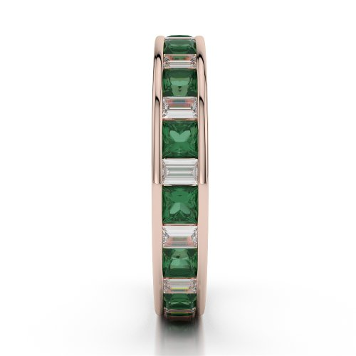 Or Rose 18carats 1,35CT G-H/VS sertie de diamants ronds découpé Émeraude et bague éternité Agdr-1141