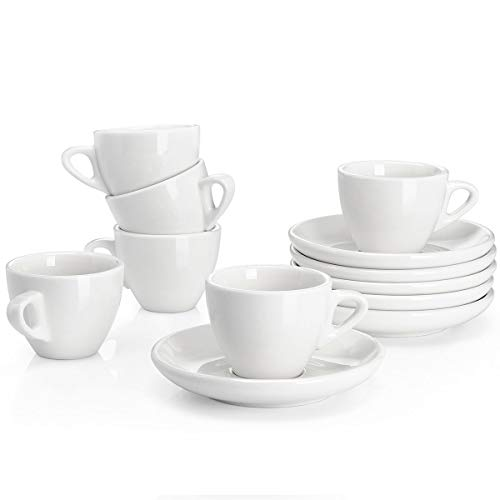 Cups Safe Saucers Oven (Sweese 4304 Porcelain Espresso Cups with Saucers - 2 Ounce - Set of 6, White)