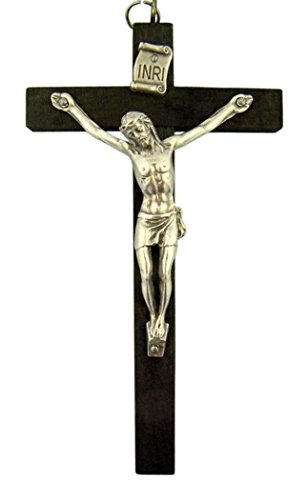 - Dark Oak Wood Nuns Pectoral INRI Cross Crucifix for Rosary, 4 Inch