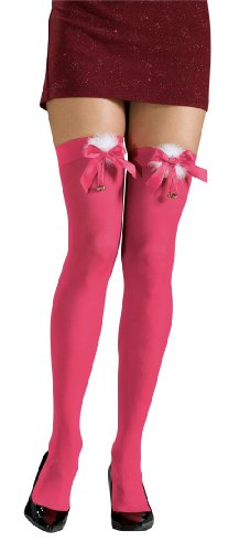 Jingle Bows - Rubie's Thigh High Stockings with Marabou Trim Bows and Jingle Bells, Pink, One Size Costume
