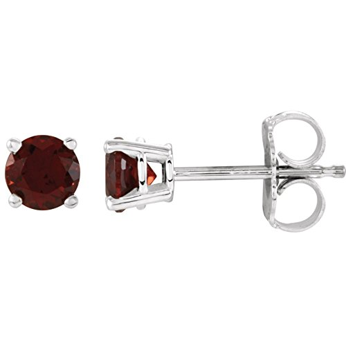 Jewels By Lux Set 14k White Gold Genuine Mozambique Garnet 4 mm Friction Pair Polished Mozambique Garnet Earrings With Backs -