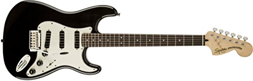 Squier by Fender Deluxe Hot Rails Stratocaster Electric Guitar - Black - Rosewood Fingerboard -  0300510506