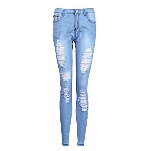 Blau Longue Trous Maigre Taille Pantalons Déchirés Élastique De Jeans Denim Slim Pour D'été Cher Casual Haute Femmes Sport 71YqY0gwT