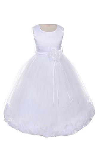 Satin Bodice Communion Flower Girl Pageant Petal Dress: White/White - 6