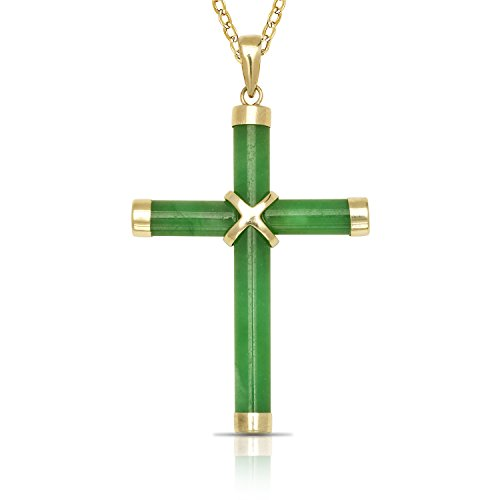 JewelryWeb 14k Yellow Gold Dyed Green Jade Cross Pendant Necklace (20mm x 35mm)(3-Lengths) (no-Chain-Included) (Imperial Green Jade Necklace)