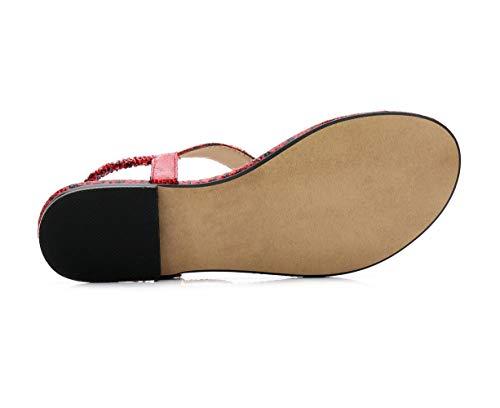 des Plates d'été Chaussures de Bohême Sandales Mode Dessin Molles de Strass Rouge Fortuning's Dame JDS® wq7SgS1
