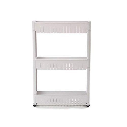 Yontree Gap Storage Slim Slide Out Storage Tower Rack Shelf with Wheels 3-Tier
