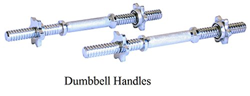 "Ader Regular 1″ Chrome Dumbbell Handles w/ Starlock Collars (Chome, 14"") For Sale"