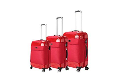Brio Luggage Hybrid Hardside and Softside Expandable Suitcase Set #AE1116 (Red)