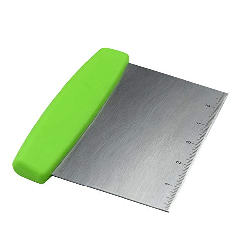 Multi-Purpose Stainless Steel Pizza Dough Bench Scraper Cutter with Plastic Handle (Green)