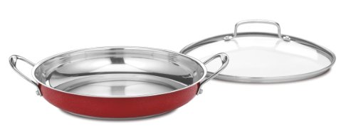 - Cuisinart CS25-30DMR Chef's Classic Stainless 12-Inch Everyday Pan with Cover, Metallic Red