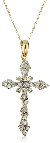 - Jewelili 10K Yellow Gold Diamond Cross Pendant Necklace (1/2 cttw), 18