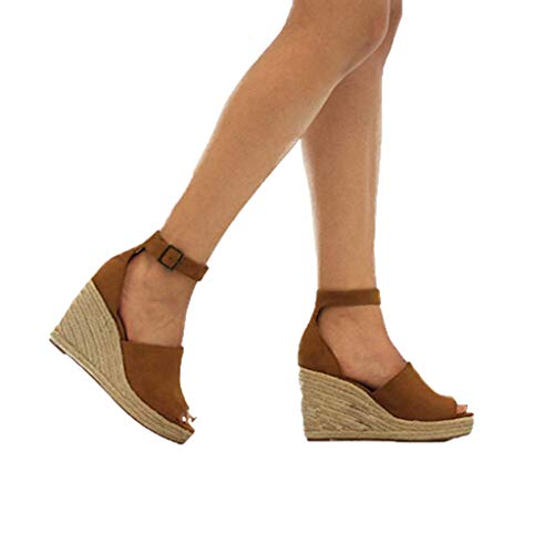 InMarry Women Shoes Womens Wedges Sandals Buckle Ankle Strap Fish Mouth Weaving Cover Heel Shoe (US:5.5, Brown)