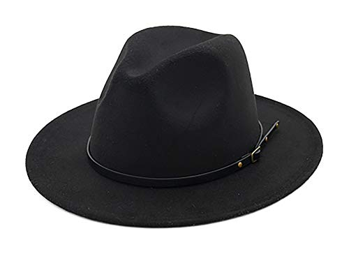 EachEver Women's Woolen Wide Brim Fedora Hat Classic Jazz Cap with Belt Buckle Black]()