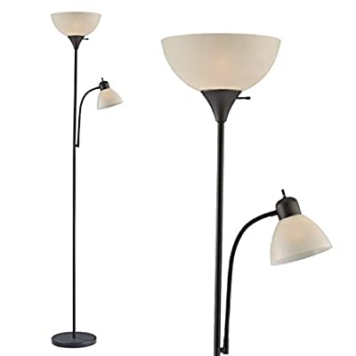 """Adjustable Floor Lamp with Reading Light by Light Accents - Susan Modern Standing Lamp for Living Room/Office Lamp 72"""" Tall - 150-watt with Side Reading Light Corner Lamp (Black) - Incandescent torchiere floor lamp for small- to medium-size rooms. Great as a dorm room floor lamp, floor lamps for bedrooms, floor lamp for living rooms. Sleek Black-painted finish with a gently curved white-frosted plastic shade Fully Adjustable Side Reading light, Use as a kids floor lamp floor lamps for bedrooms - living-room-decor, living-room, floor-lamps - 31X7vhWcQVL. SS400  -"""