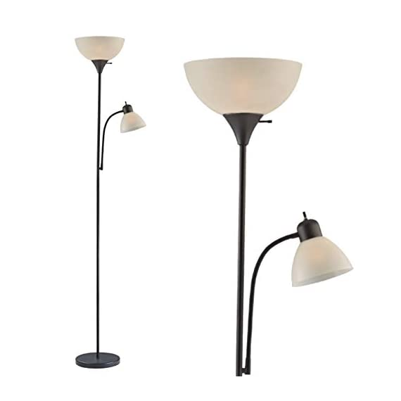 """Adjustable Floor Lamp with Reading Light by Light Accents - Susan Modern Standing Lamp for Living Room/Office Lamp 72"""" Tall - 150-watt with Side Reading Light Corner Lamp (Black) - Incandescent torchiere floor lamp for small- to medium-size rooms. Great as a dorm room floor lamp, floor lamps for bedrooms, floor lamp for living rooms. Sleek Black-painted finish with a gently curved white-frosted plastic shade Fully Adjustable Side Reading light, Use as a kids floor lamp floor lamps for bedrooms - living-room-decor, living-room, floor-lamps - 31X7vhWcQVL. SS570  -"""