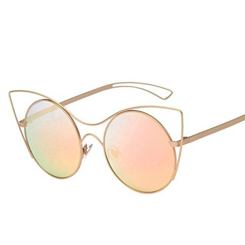 HANYI-Round Retro Polaroid Sunglasses Unisex Cat Eyes Aviator Mirror Lens Sunglasses - Hut Wear Eye