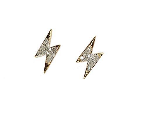 (Diamond Lightning Bolt Stud Earring- 14k Gold (.11ctw)-Genuine White Diamond)