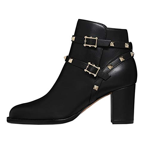 Boots Round Toe EKS Heels Booties Ankle Strappy Black Rivets Buckles Ankle Women's Block 6qZpfwF