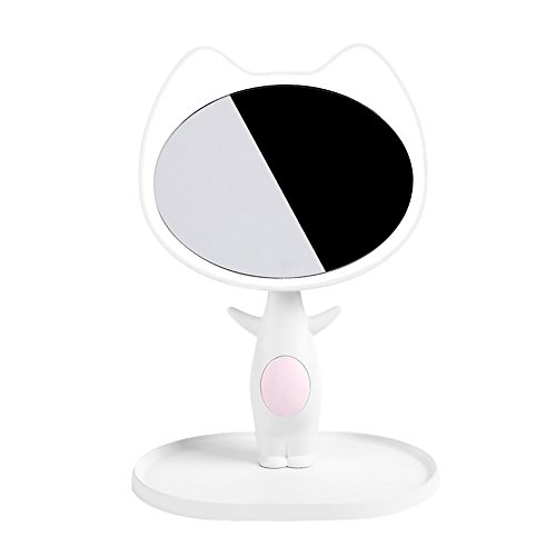 Putars Cute Cat LED Lighted Vanity Mirror,Lighted Travel Make-up Mirror without Ghost or Glare (white) - Lighted Ghost