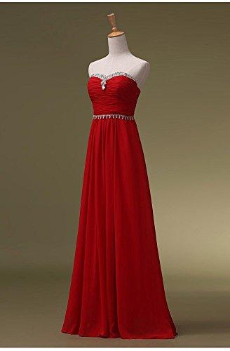 Trägerloses Emily lang Rot Maxi Abendkleider Pailletten Beauty förmlichen 8wOqU6On