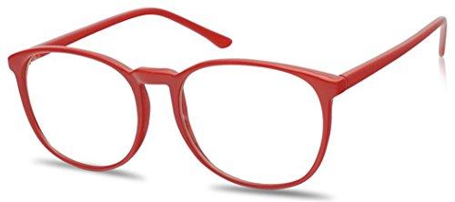 SunglassUP Vintage Classic 55mm Nerdy Thin Plastic Clear Lens Urkel Eye Glasses - Non Prescription Eyeglasses (Red, - Thin Lenses Prescription