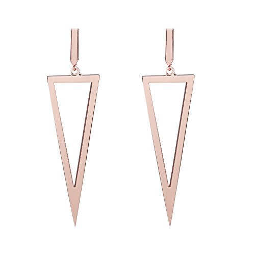 LILIE&WHITE Fashion Women Triangle Drop Dangle Earrings Geometric Jewelry Punk Gift Rose Gold Plating - White Metal Earring